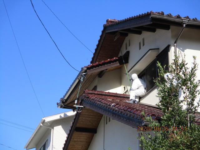 2階軒下スズメバチの巣駆除
